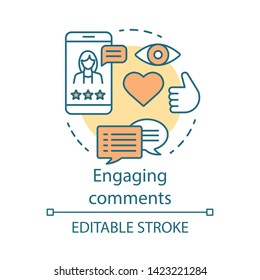 Engaging comments concept icon. Online PR idea thin line illustration. Content marketing. Subscribers review. Blog commenting, clients feedback. Vector isolated outline drawing. Editable stroke