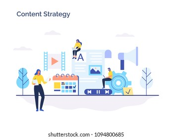 Engaging content, blogging, media planning, promotion in social network concept. Flat vector illustration.