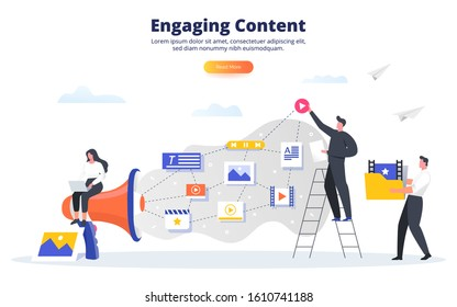 Engaging content business concept. Blogging, SMM, media planning, promotion in social network concept. Creating, marketing and sharing of digital - flat vector illustration.