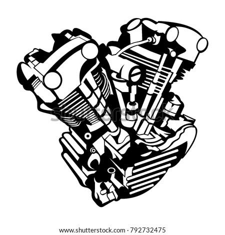 Engine Block Art Stock Vector Royalty Free 792732475