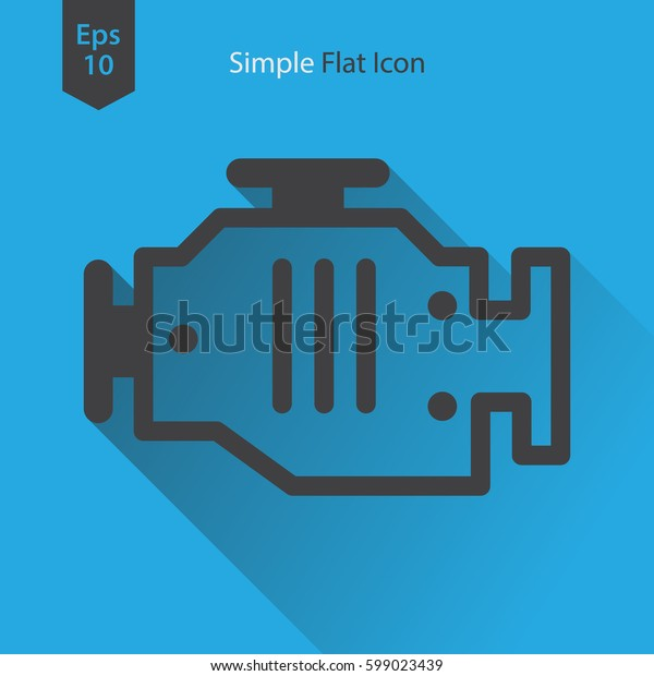 Engine Flat Icon. Simple Sign Of Technology. Vector Illustrated Symbol