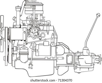 engine with gear box side