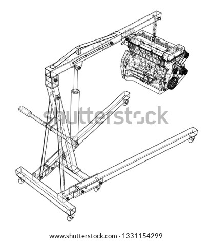 Engine Hoist Engine Outline Vector Rendering Stock Vector Royalty