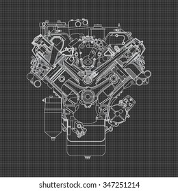 Car engine blueprint images stock photos vectors shutterstock engine line drawing background malvernweather Choice Image