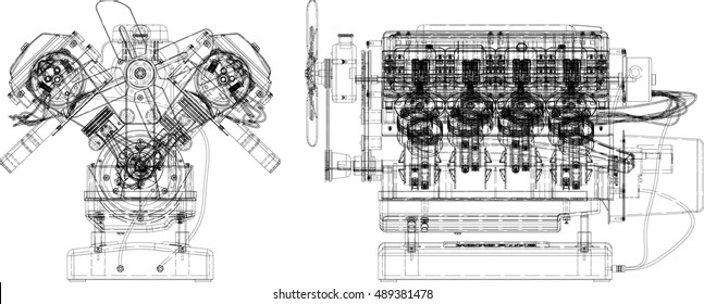 Engine line drawing background. Vector illustration.