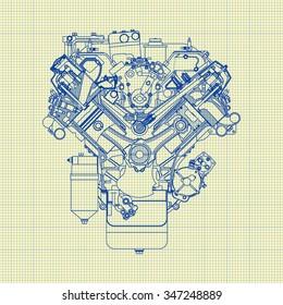 Engine mechanical background blueprint