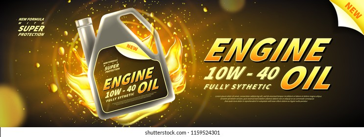 Engine oil advertisement background. Vector illustration with realistic canister and motor oil on bright background. 3d ads template.