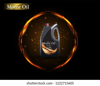 Engine oil advertisement background. Vector illustration with realistic canister and motor oil on bright background