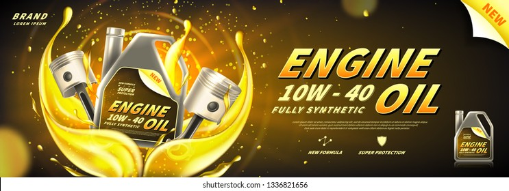 Engine oil advertisement background. Vector illustration with realistic pistons and canister on bright background with motor oil splashes. 3d ads template.