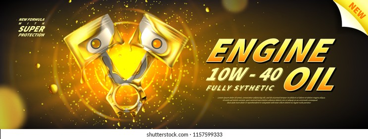 Engine oil advertisement banner. Vector illustration with realistic pistons and motor oil on bright background. 3d ads template.