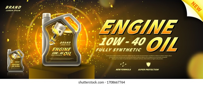 Engine oil advertisement banner. Vector illustration with realistic oil canister on pedestal on bright background. 3d ads template.