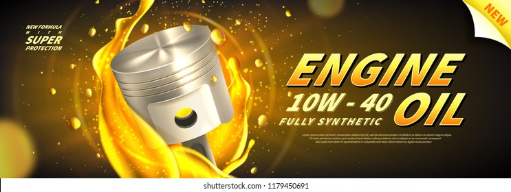Engine oil advertisement web banner. Vector illustration with realistic pistons and motor oil on bright background. 3d ads template.