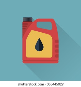 Engine oil. Icon cans of engine oil. Vector illustration, flat style. Service concept and repair. Canister.