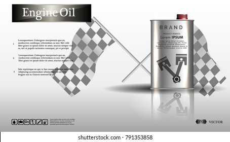 Engine oil in an iron jar.Bottle engine oil on white background with gear, clean vector. Realistic 3D vector image. canister ads template with brand logo Blueprints. .EPS10