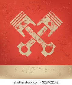 Engine on red background,poster grunge design