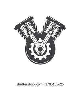 engine piston vector icon illustration design template