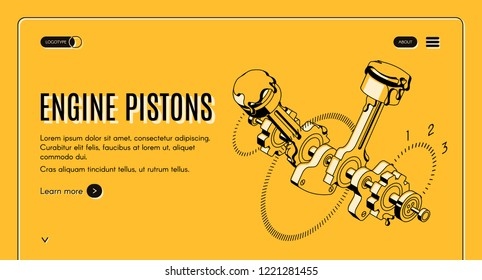 Engine pistons service, repair shop isometric vector web banner. Vehicle internal combustion engine mechanism parts, black line art illustration. Car industry engineering company landing page template