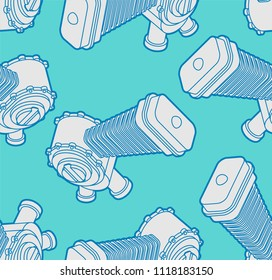Engine racing Isometric pattern seamless. Motor motorcycle background. Vector illustration.