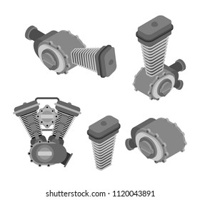Engine racing set Isometric. Motor motorcycle isolated. Vector illustration.