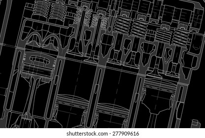 engine technical drawing background black