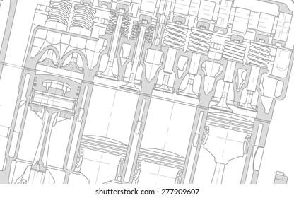engine technical drawing background white blueprint