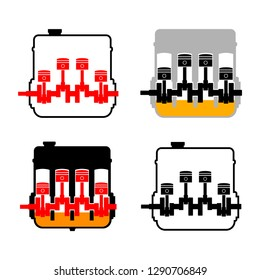 Engine vector icons on white background