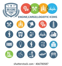 Engine,cargo and logistic icons,vector