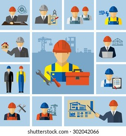 Engineer Architect Construction Workers Icons