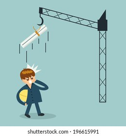 Engineer builder holding safety vest and big metal is falling down. Risk concept.
