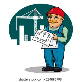 Engineer with building scheme on construction site in cartoon style