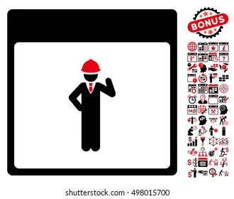 Engineer Calendar Page pictograph with bonus calendar and time management pictures. Vector illustration style is flat iconic symbols, intensive red and black, white background.