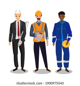 Engineer character with different uniform site work office work safety suit cartoon style vector