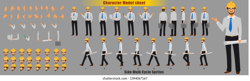 Engineer Character Model sheet with Walk cycle Animation Sequence