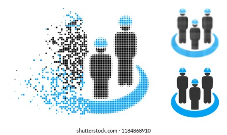 Engineer community icon in fractured, dotted halftone and undamaged versions. Elements are grouped into vector disappearing engineer community icon. Disappearing effect uses rectangle particles.