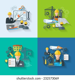 Engineer construction manufacturing workers with gears drafts and tools flat icons set isolated vector illustration