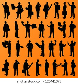 Engineer and construction site people, worker, manager, boss, director detailed silhouettes illustration collection background vector