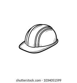 Engineer helmet hand drawn outline doodle icon. Hard hat vector sketch illustration for print, web, mobile and infographics isolated on white background. Manufacturing and consrtuction concept.
