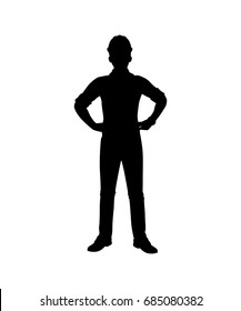 Engineer with Helmet Silhouette isolated vector