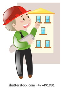 Engineer holding blueprint of building illustration