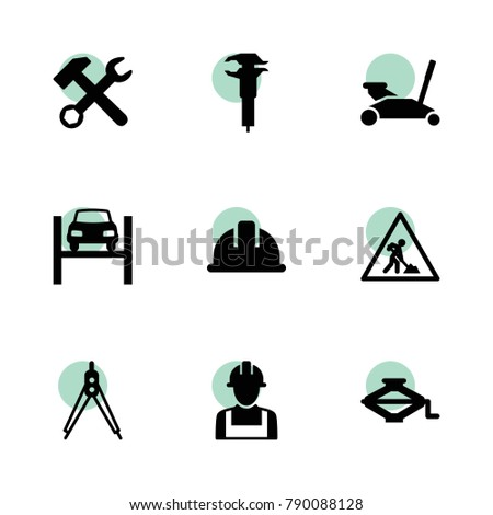 Engineer Icons Vector Collection Filled Engineer Stock Vector