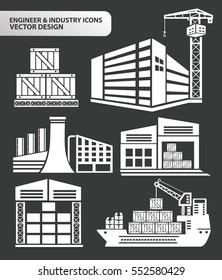 Engineer and industry icon set,clean vector
