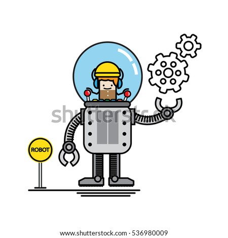 Engineer Kid Control His Own Robot Stock Vector Royalty Free