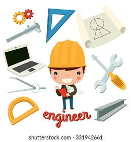 engineer kid with tools. vector set.