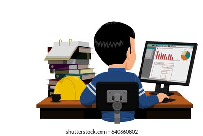Engineer is making report on his desk
