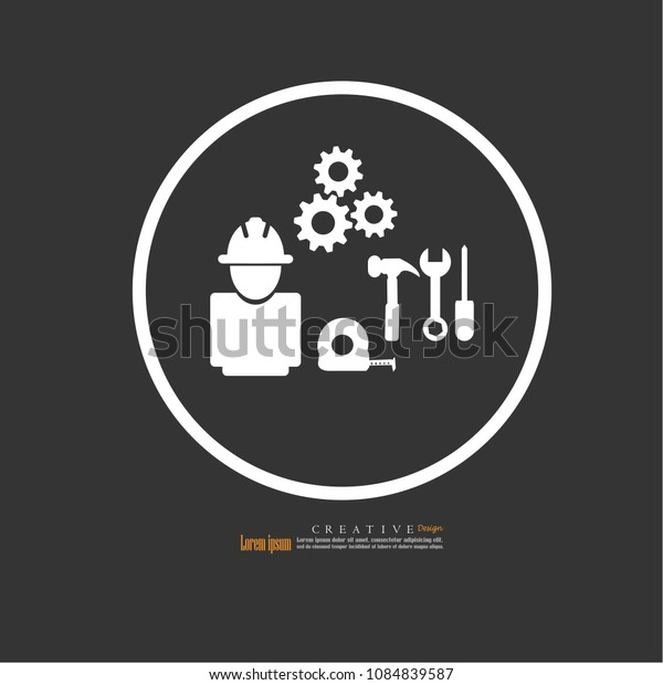 Engineer man and engineering icon.vector illustration.