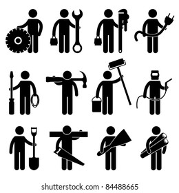 Engineer Mechanic Plumber Electrician Wireman Carpenter Painter Welder Construction Architect Job Occupation Sign Pictogram Symbol Icon