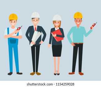 Engineer and mechanics and technician people worker teamwork. industry character vector design.