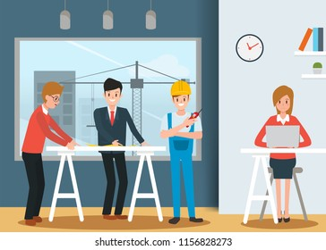 Engineer and mechanics and technician people worker teamwork in office. industry character vector design.