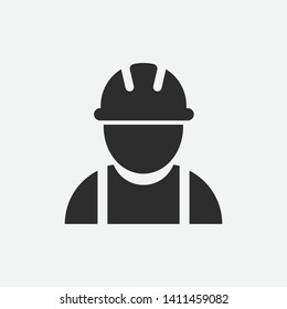 Engineer person vector icon illustration isolated on grey background. Builder icon. Engineer vector icon eps.Construction worker.