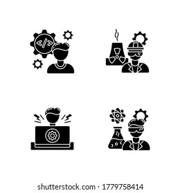Engineer profession black glyph icons set on white space. Computer software developer. Nuclear production worker. Heavy manufacturing production. Silhouette symbols. Vector isolated illustration